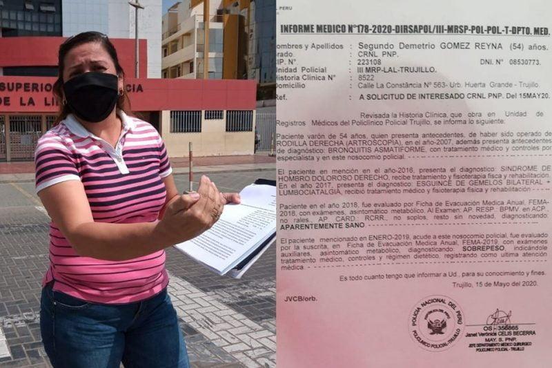 Esposa pide cese de prisión preventiva de excoronel con COVID-19